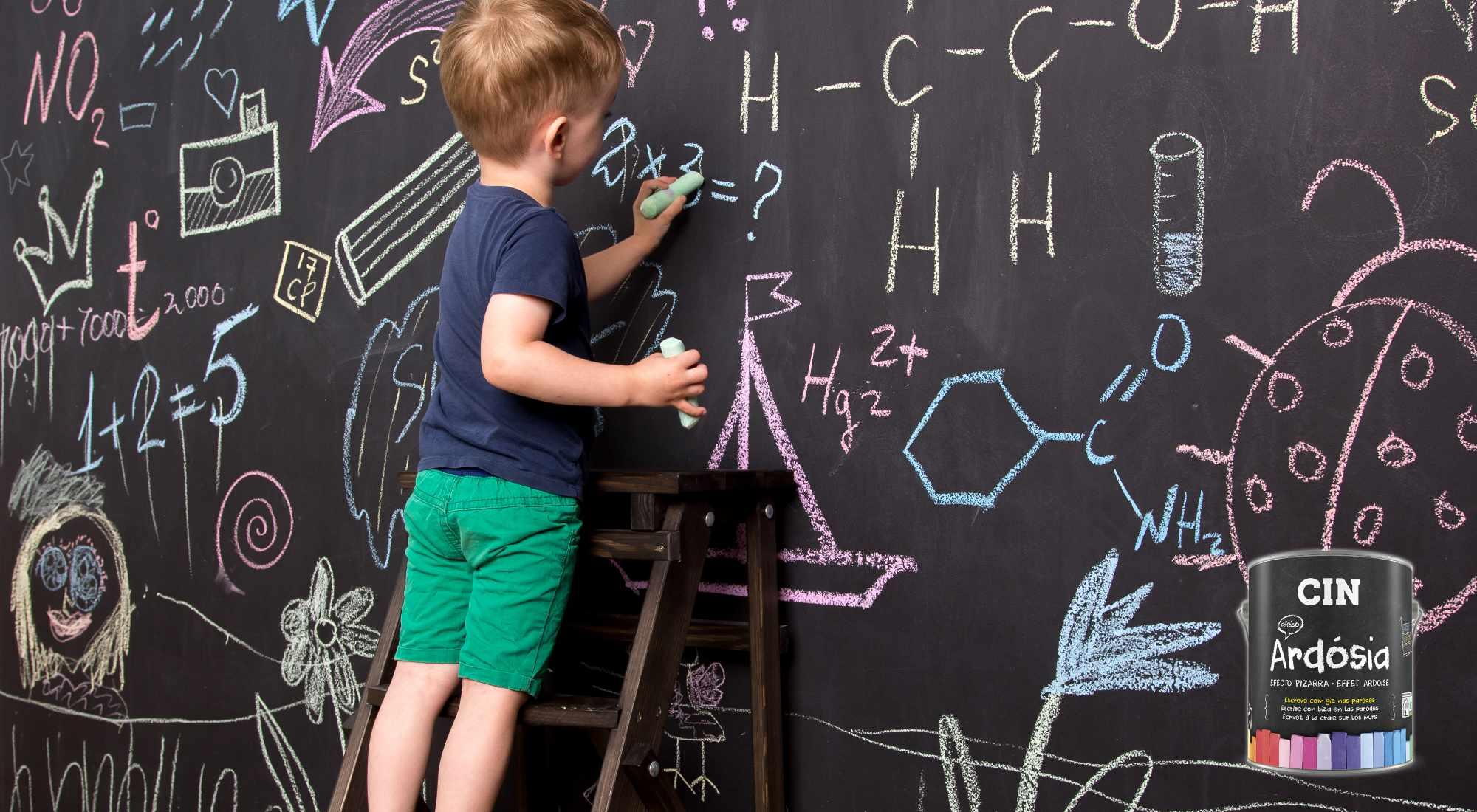 Uma parede cheia de desenhos, letras e números? O efeito ardósia da CIN abre a porta à criatividade das suas crianças